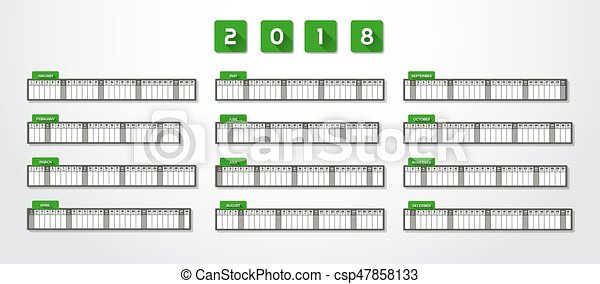 one page year calendar 2018