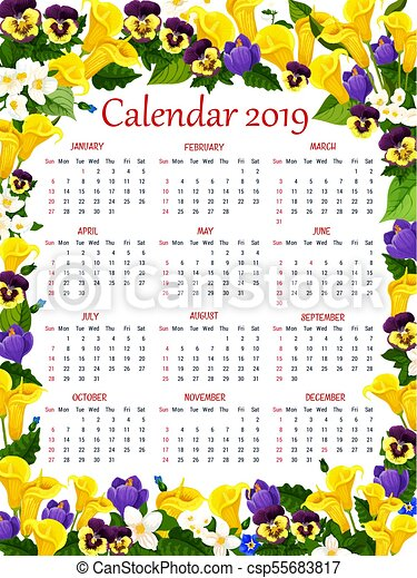 Year calendar template with spring flower frame. Calendar template ...