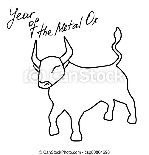 Year of Metal Ox. Bull vector icon illustration isolated on white background - csp80804698