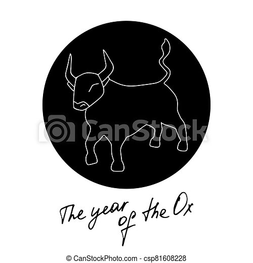 Year of Metal Ox. Bull vector icon illustration isolated on white background - csp81608228