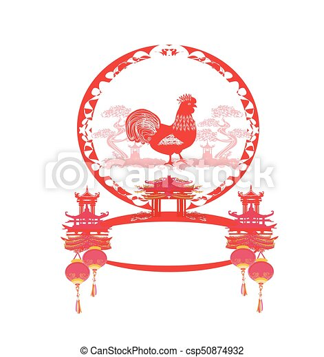 Year of rooster design for Chinese New Year - csp50874932