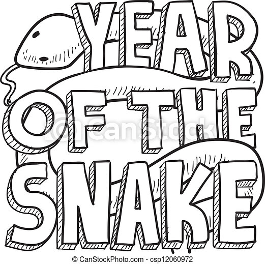 Year of the snake Chinese zodiac - csp12060972