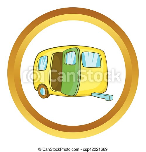 Yelllow Camping Trailer Vector Icon