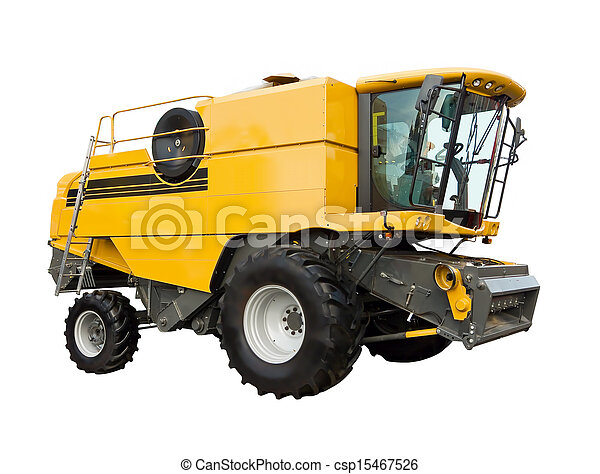 Yellow agricultural harvester - csp15467526