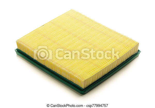 yellow air filter for car engine, isolated on white - csp77994757