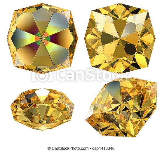 yellow amber gem isolated - csp4418046