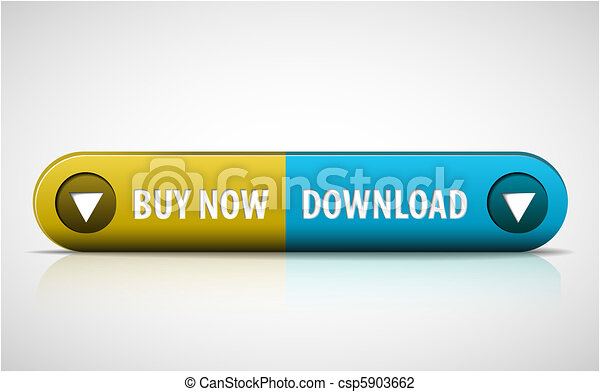 Yellow and blue Buy now / Download button - csp5903662