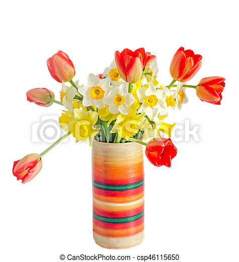 Yellow And White Daffodils Flowers Red Orange Tulips In A Colored