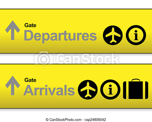 Yellow Arrival And Departures Airport Signs Isolated Over A White