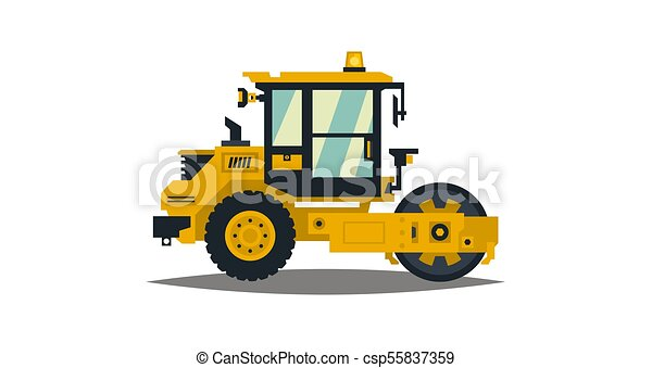 Yellow Asphalt Compactor Isolated On White Background Construction Machinery Special Equipment Road Repair Vector Illustration Flat Style
