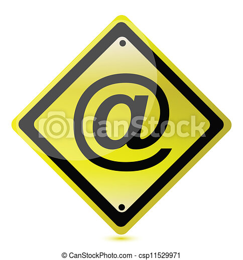 Yellow Att Sign Illustration Design Over A White Background Vectors