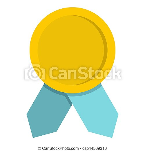 Yellow badge with blue ribbons icon, flat style - csp44509310
