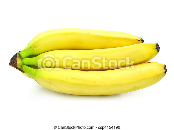 yellow banana fruits cluster isolated food on white - csp4154190