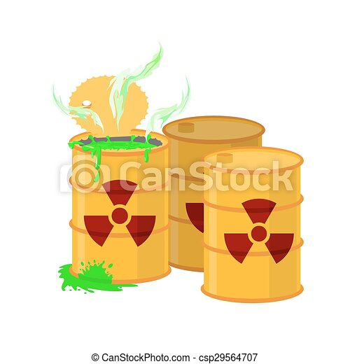 Yellow barrel with a radiation sign. Open container of radioactive waste. Green spilled acid. Vector illustration - csp29564707