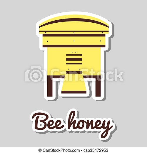 Yellow Bee House Of Bees Sticker With Beehive On