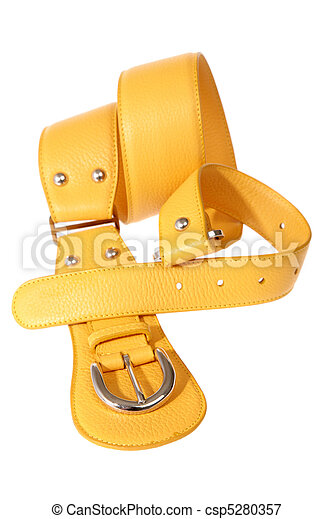 Yellow belt on a white background - csp5280357