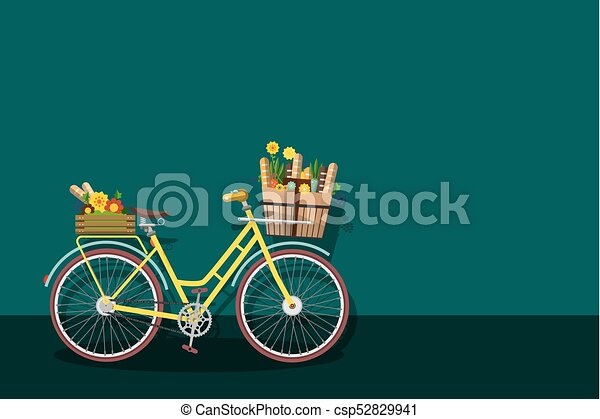 Yellow Bicycle with Empty Space - csp52829941