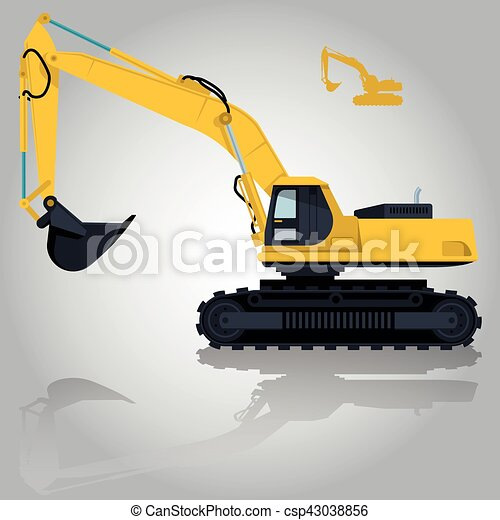 Yellow Big Digger On White Background Construction Machinery And Ground Works