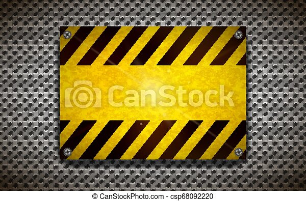 Yellow blank warning sign template on metallic grid, industrial background - csp68092220