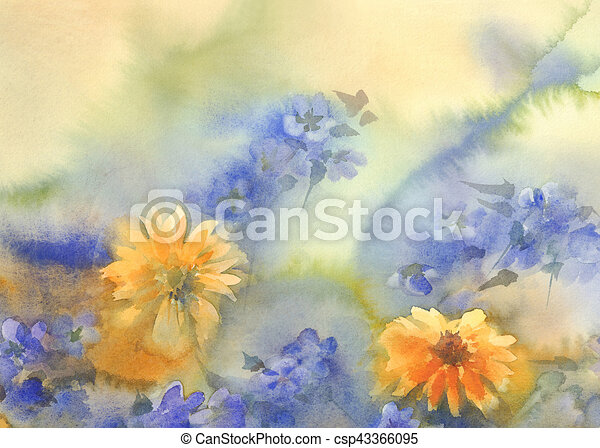 Yellow blue summer flowers watercolor yellow blue summer flowers yellow blue summer flowers watercolor csp43366095 mightylinksfo