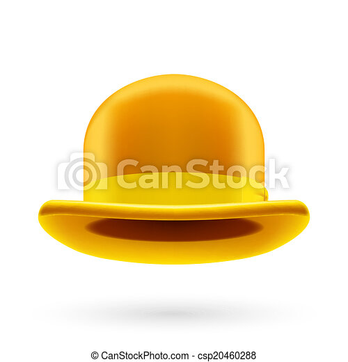b428ef886d468 Yellow bowler hat. Yellow round traditional hat with hatband on ...