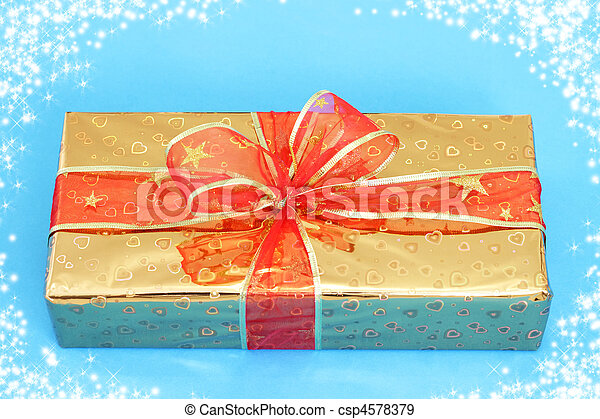 Yellow box on a blue background - csp4578379