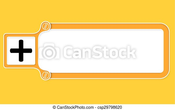 Yellow Box With White Frame For Your Text And Plus Symbol