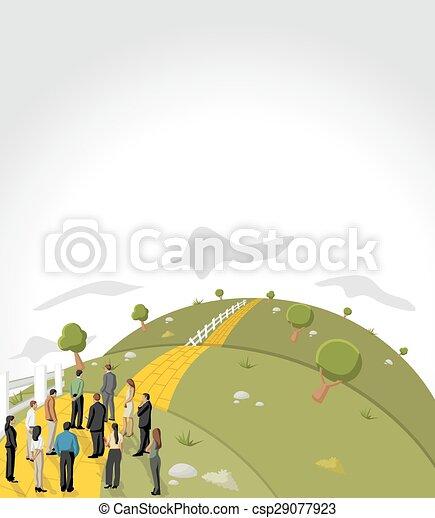 Yellow Brick Road on green hill - csp29077923
