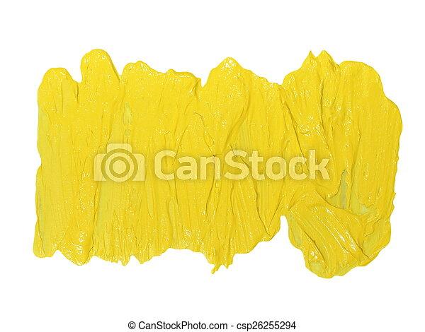 yellow  brush strokes oil paint - csp26255294