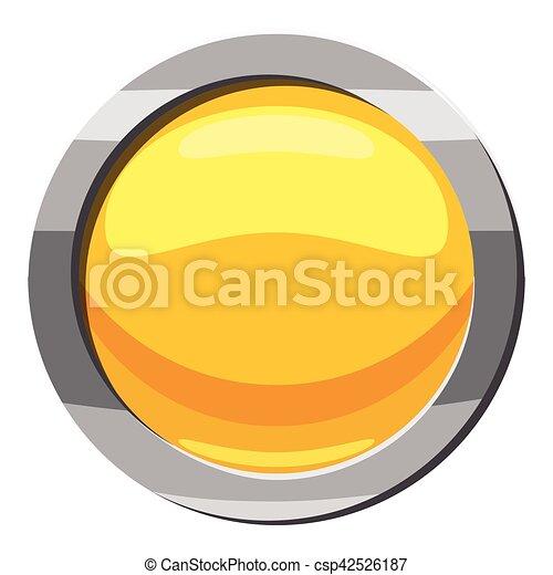 Yellow button icon, cartoon style - csp42526187
