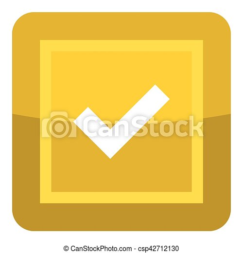 Yellow button icon, cartoon style - csp42712130