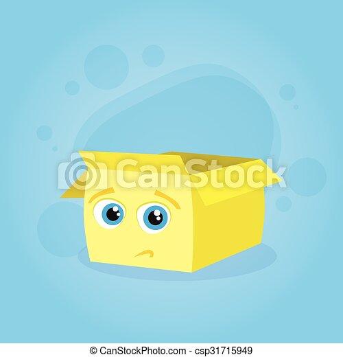 Yellow Cardboard Box Confused Doubtful Cartoon Character Emotion - csp31715949