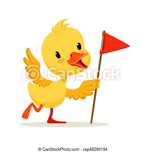 yellow cartoon duckling holding red flag cute emoji vector eps rh canstockphoto com duckling clipart black and white ugly duckling clipart