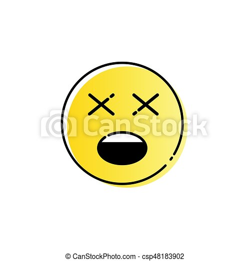 yellow cartoon face shocked people emotion icon vector vector