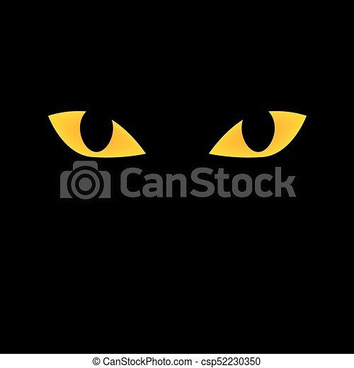 Yellow Cat Eyes Icon On Black Background Vector Illustration