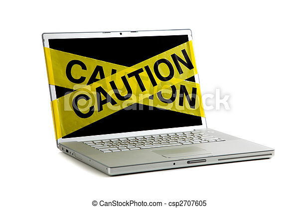yellow caution tape on a computer screen - csp2707605