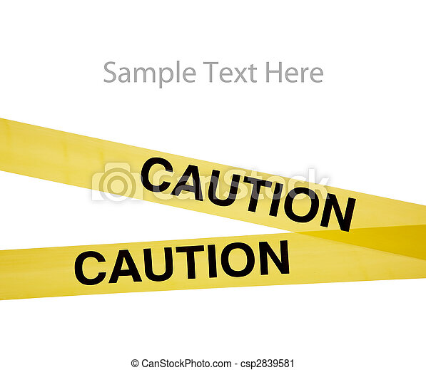 Yellow caution tape on white with copy space - csp2839581