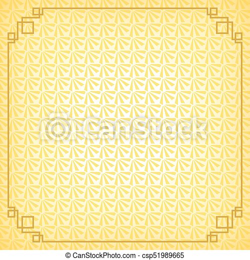 yellow chinese little fan abstract background with gold border csp51989665