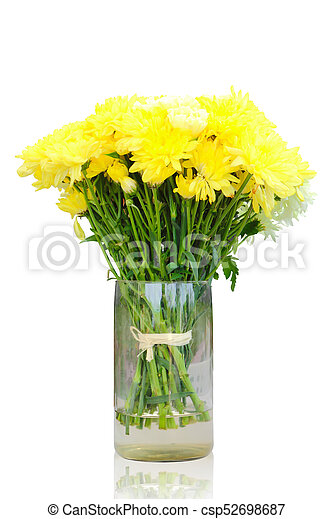 Yellow Chrysanthemum Flowers In Vase Isolated Bright Of Yellow