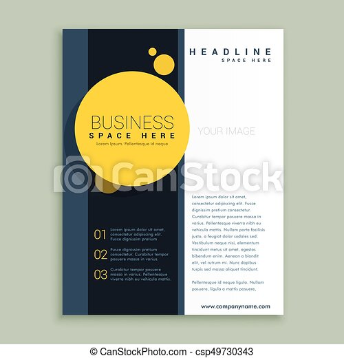 yellow circle brochure design corporate business template for annual report or magazine layout csp49730343