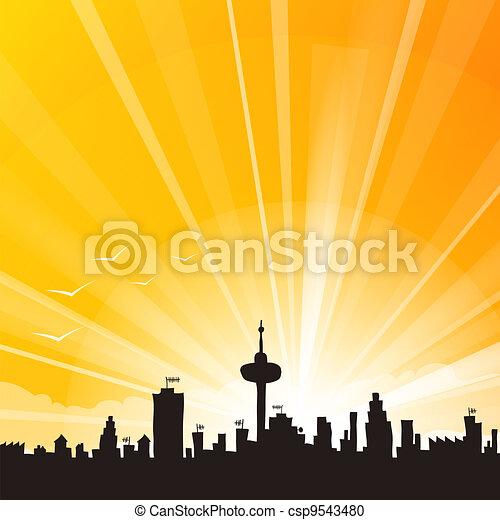 Yellow City Skyline - csp9543480