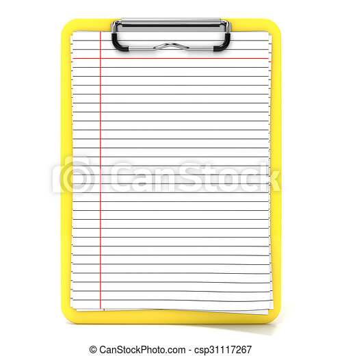 yellow clipboard and blank paper with lines 3d render illustration