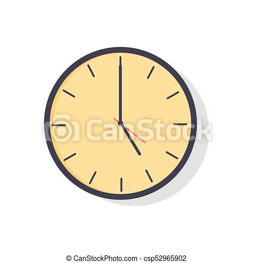 Yellow Clock Isolated On Vector Illustration Yellow Clock With