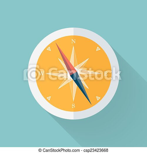 Yellow Compass flat icon over mint - csp23423668