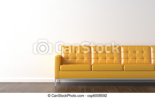 yellow couch on white wall - csp6008592