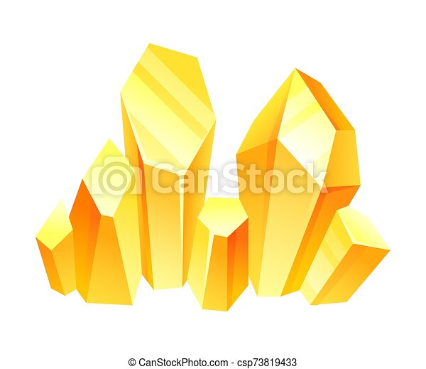 Yellow crystals. Vector illustration on a white background. - csp73819433