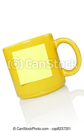 yellow cup with note sticker - csp8237201