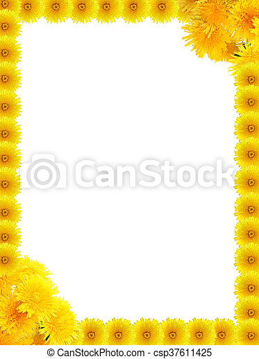 Yellow dandelions frame. Nice frame made from yellow dandelion ...