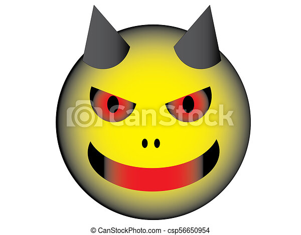Devil face line drawing : Yellow devil face that have two horn stock illustrations search