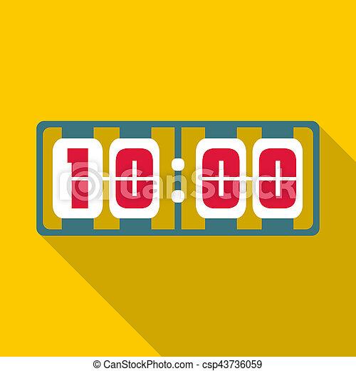 Yellow digital clock icon, flat style - csp43736059